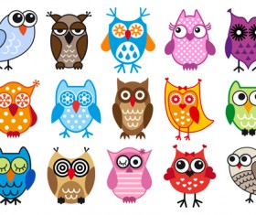 Cute owls icons vector material
