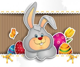 Cute rabbit with easter background vector 02