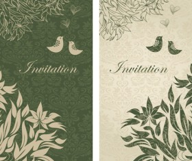 Dark green floral vintage invitation cards vector 01