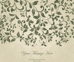 Dark green floral vintage invitation cards vector 02