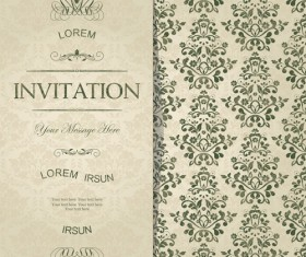 Dark green floral vintage invitation cards vector 03