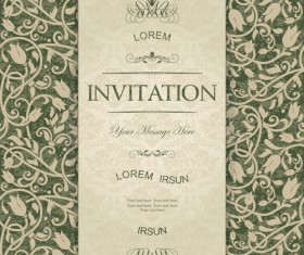 Dark green floral vintage invitation cards vector 04