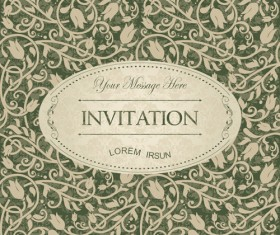 Dark green floral vintage invitation cards vector 05