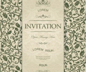 Dark green floral vintage invitation cards vector 07