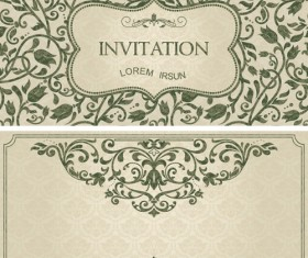 Dark green floral vintage invitation cards vector 08