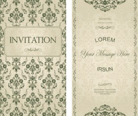 Dark green floral vintage invitation cards vector 09