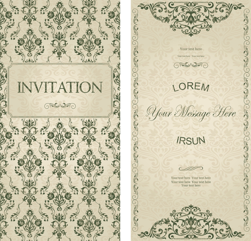 Dark green floral vintage invitation cards vector 09 Vector Card – Vintage Invitation Cards
