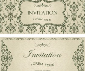 Dark green floral vintage invitation cards vector 10