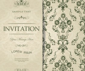 Dark green floral vintage invitation cards vector 11