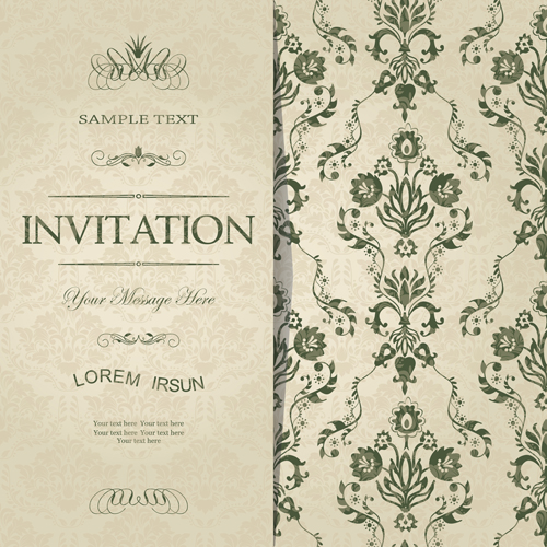 Dark green floral vintage invitation cards vector 11 Vector Card – Vintage Invitation Cards
