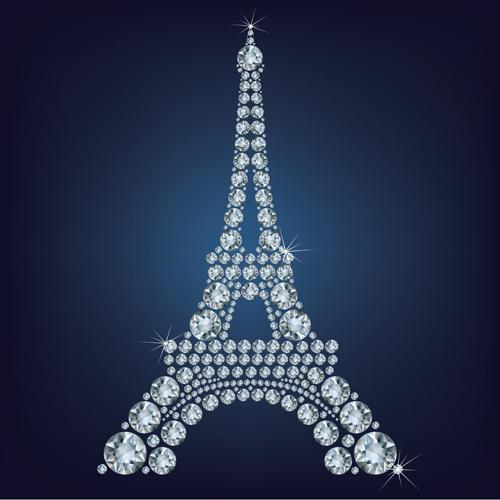Diamonds eiffel tower vector background