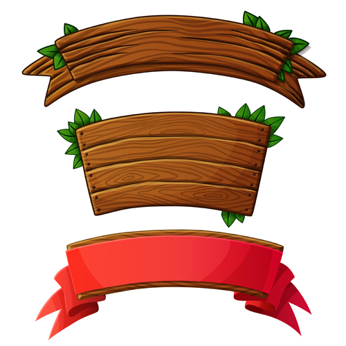 different shapes wooden banners vector 01 free download