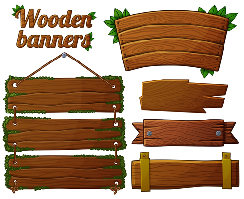 Different shapes wooden banners vector 03 - Vector Banner free ...