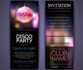 Disco party Invitation cards creative vector 01
