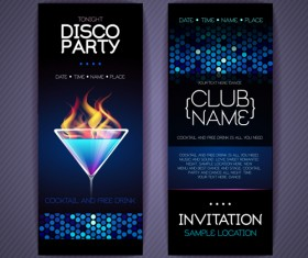 Disco party Invitation cards creative vector 02
