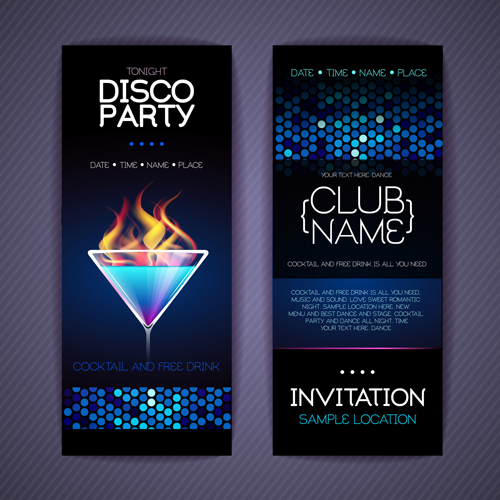 Disco Party Invitation Cards Creative Vector 02 Free Download