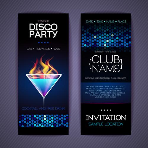 Disco party Invitation cards creative vector 02 Vector Card free – Cool Invitation Cards