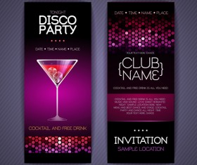 Disco party Invitation cards creative vector 03