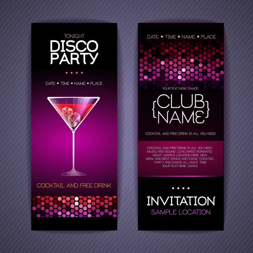 disco party invitation cards creative vector 03 free download