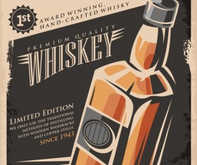 Drinks poster retro styles vectors material 03