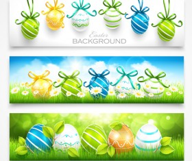 Easter egg ornaments banners vector