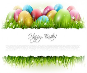 Easter egg with grass background art vector 01