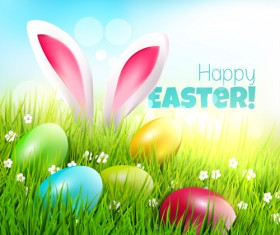 Easter egg with grass background art vector 02