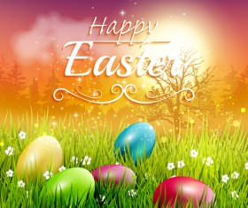 Easter egg with grass background art vector 03