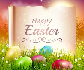 Easter egg with grass background art vector 04