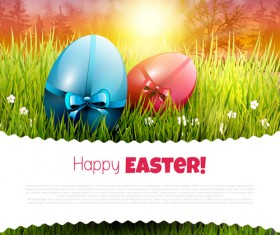Easter egg with grass background art vector 05