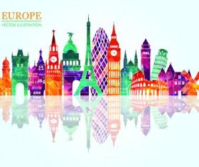Europe colored landmark building vector