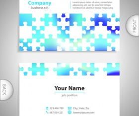 Excellent business cards front back template vector 05