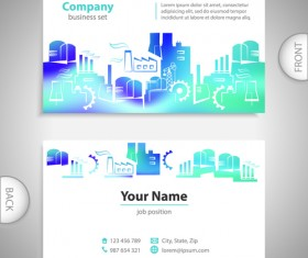 Excellent business cards front back template vector 09