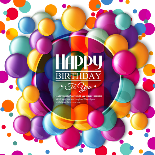 Exquisite Birthday Card With Colored Balloons Vector 04