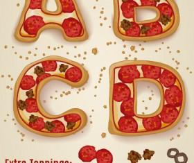 Exquisite pizza alphabet design vector 01