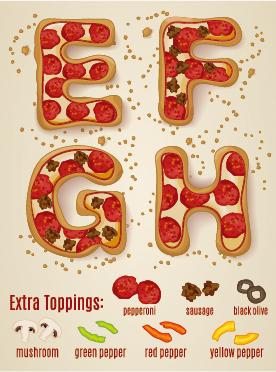 Exquisite pizza alphabet design vector 02