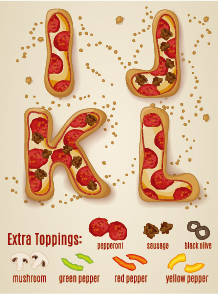 Exquisite pizza alphabet design vector 03