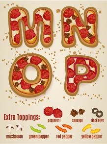 Exquisite pizza alphabet design vector 04