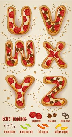 Exquisite pizza alphabet design vector 06