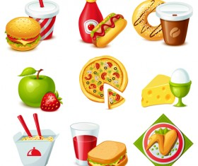 Fast food and drinks design vectors 02