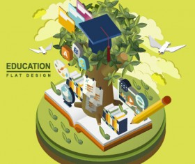 Flat concept education vector template