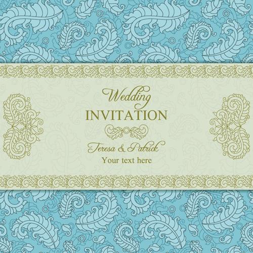 Floral ornate wedding invitation cards vector set 05