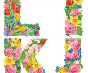 Flowers with butterfly alphabets vector set 01
