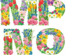 Flowers with butterfly alphabets vector set 02