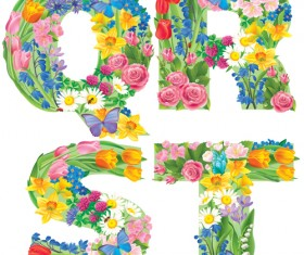 Flowers with butterfly alphabets vector set 03
