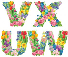Flowers with butterfly alphabets vector set 04