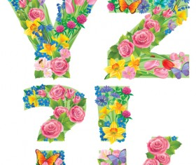 Flowers with butterfly alphabets vector set 05
