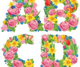 Flowers with butterfly alphabets vector set 06
