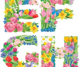 Flowers with butterfly alphabets vector set 07