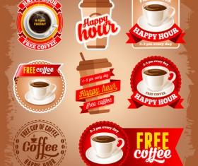 Free red coffee labels vector